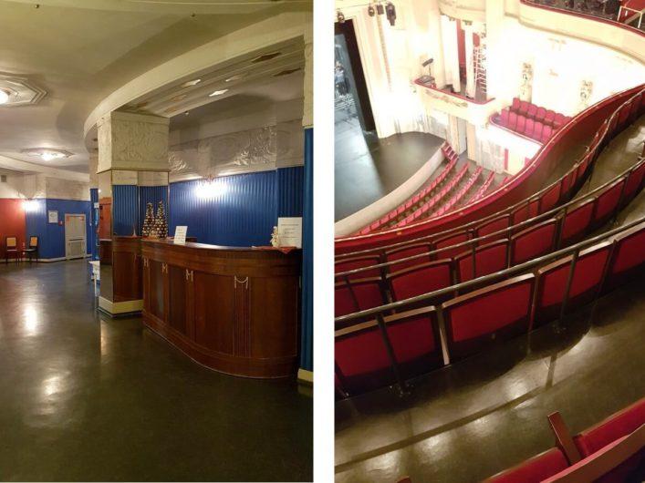Blick auf die Bühne und ins Foyer des Staatstheaters Cottbus