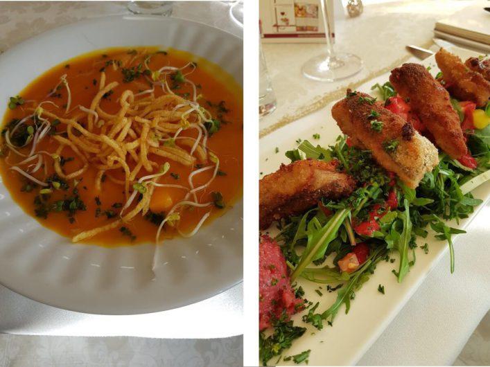 Hokkaidosuppe und Karpfenfilets auf Ruccola im Gasthaus Schillebold in Peitz