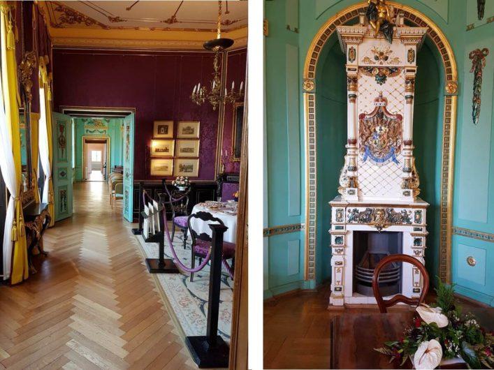 Blick durch die Räume von Schloss Branitz und den Kamin