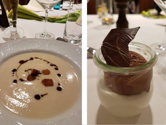 Schwarzwurzelsuppe und Joghurtmousse mit Schokoladeneis im Kulinarium Branitz