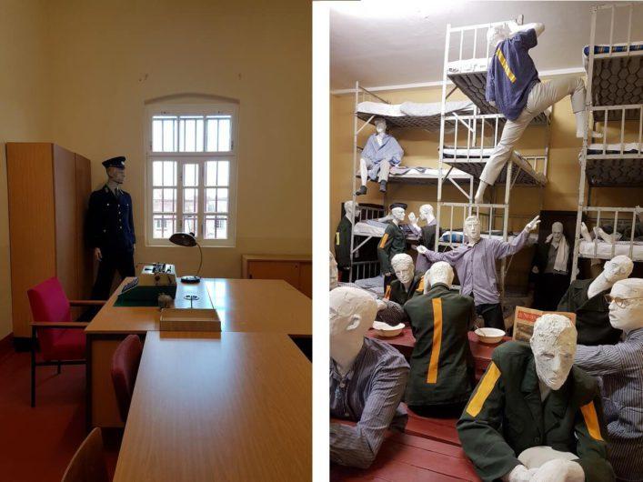 vollbelegte Zelle und Vernehmerzimmer im ehemaligen Zuchthaus Cottbus