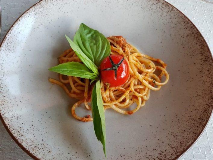 Spaghetti als erster Ganz beim Dinner im Hotel Gnollhof