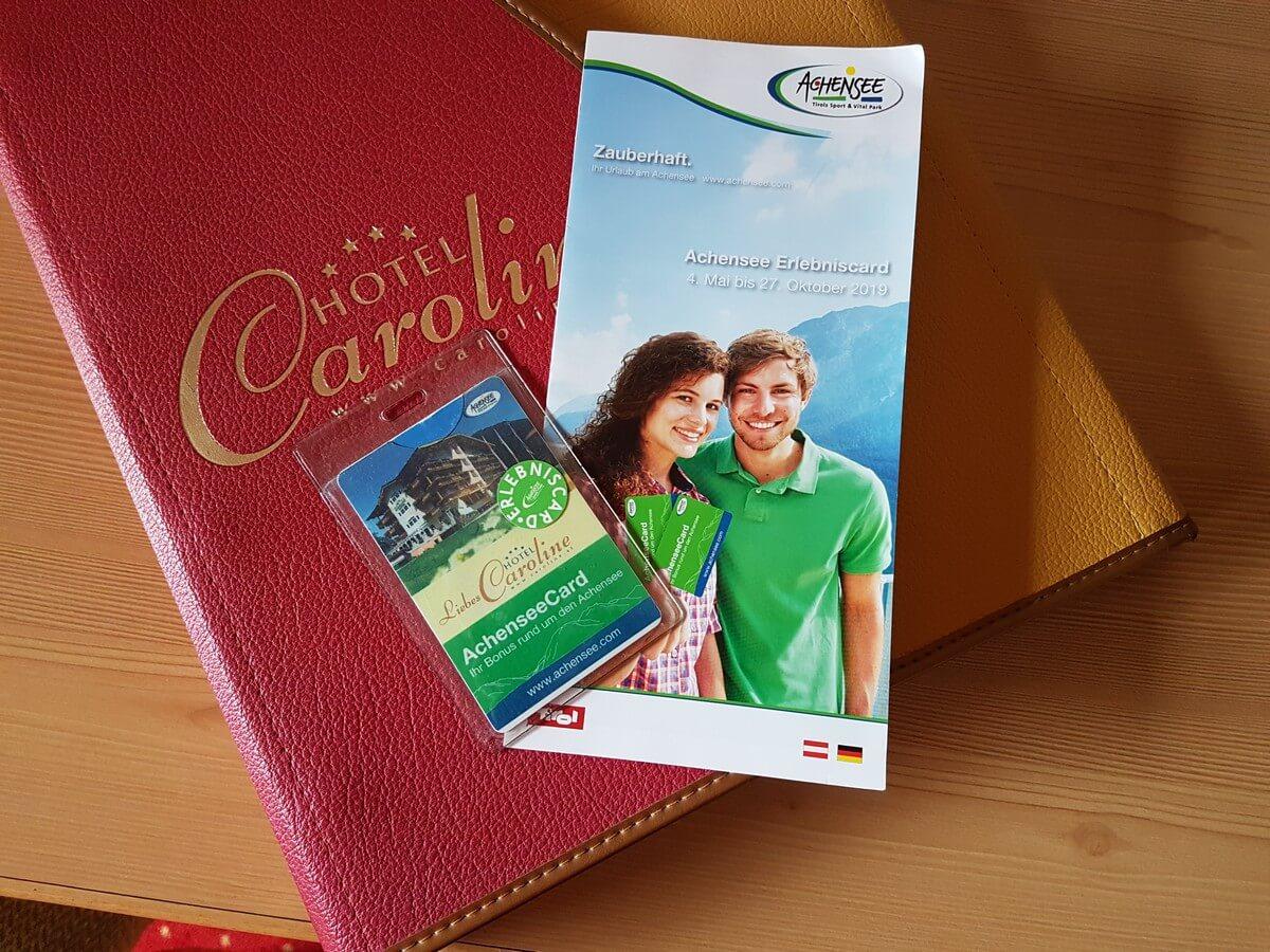 Achensee Erlebniscard mit Informationsmaterial und Hotelinfomappe