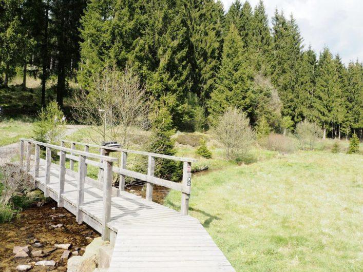 Brücke über den Schwarzbach mit Infoausleger