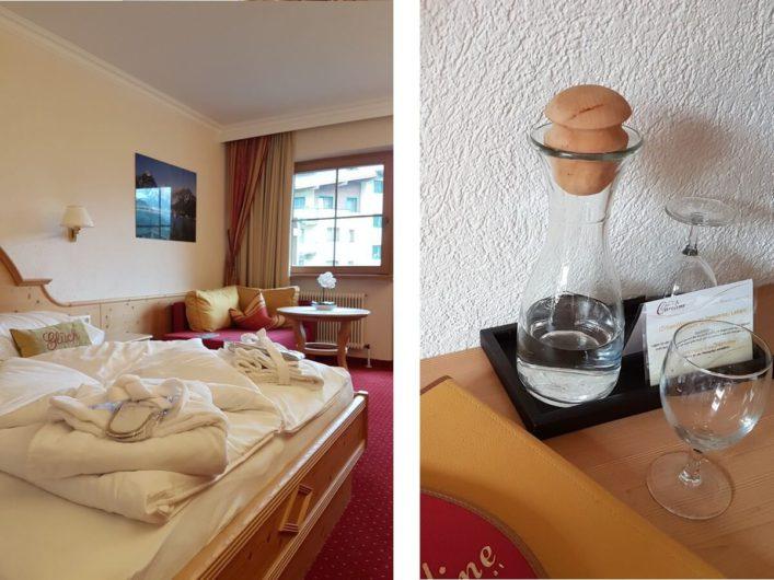Doppelzimmer im Hotel Liebes Caroline und Wasserkaraffe auf dem Zimmer
