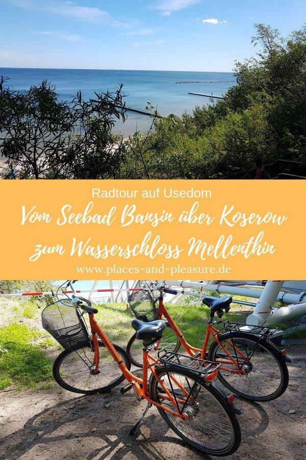 Radfahren auf Usedom. Lecker essen und trinken. Eine schöne Tagestour mit dem Fahrrad führt vom Seebad Bansin zu den Salzhütten in Koserow und über das Wasserschloss Mellenthin wieder zurück nach Bansin. Mittlere Kondition oder E-Bike erforderlich. #Usedom #Ostsee #Radtour #Reisetipp
