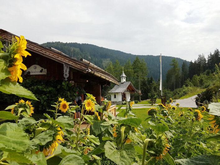 Blick auf die Latschenölbrennerei am Mandlberggut mit Sonnenblumen im Vordergrund und einer Kapelle im Hintergrund