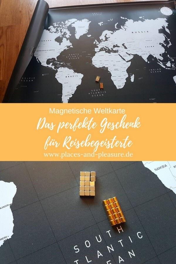 Werbung|PR-Sample // Erinnerungen an schöne Reisen und Wunschreiseziele immer im Blick. Individuell gestaltet auf einer magnetischen Weltkarte. #Geschenkidee #Reise