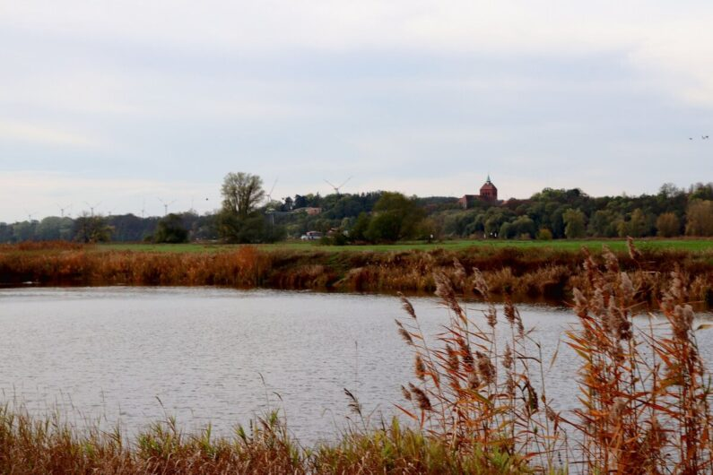 Blick über die Elbe auf Dorf am anderen Ufer