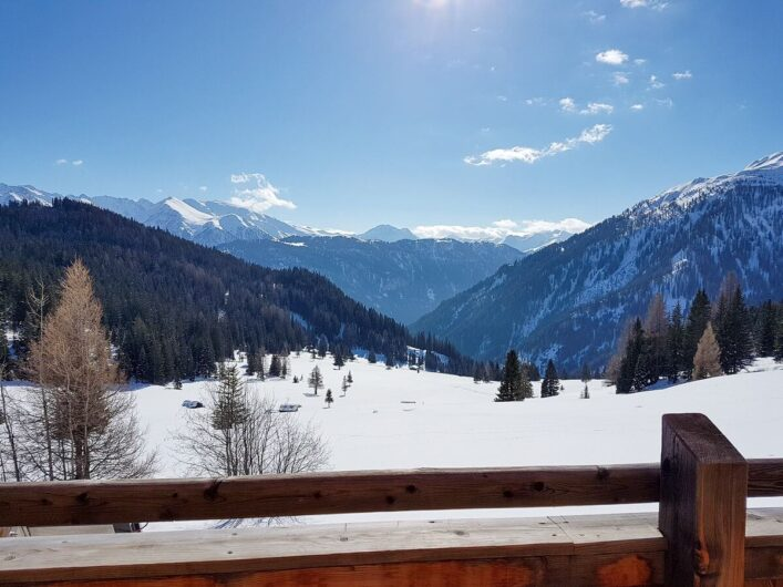 Schneelandschaft mit Wald und Bergen im Hintergrund