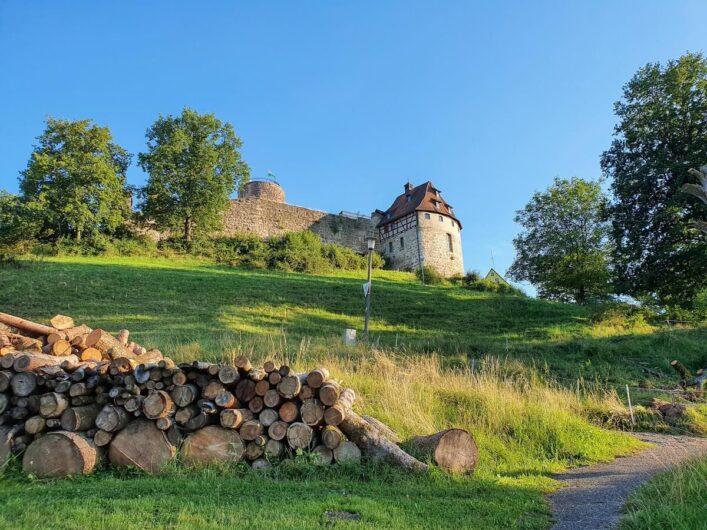Blick von unten hoch zur Burg Thann
