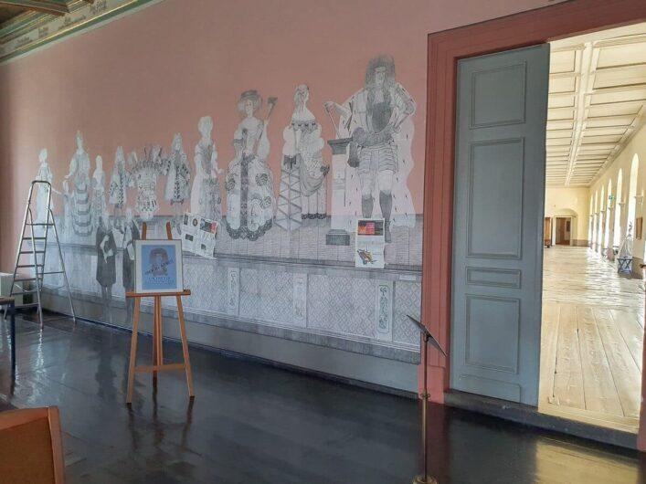 Collage aus Maulbeerbaumblättern