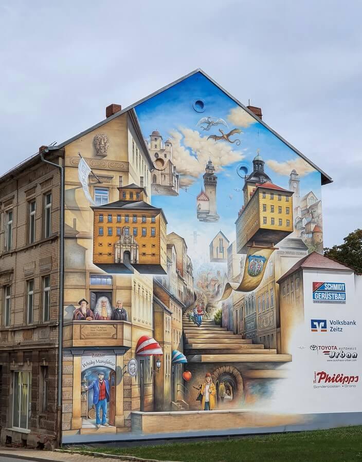 Streetart an einer Zeitzer Hauswand