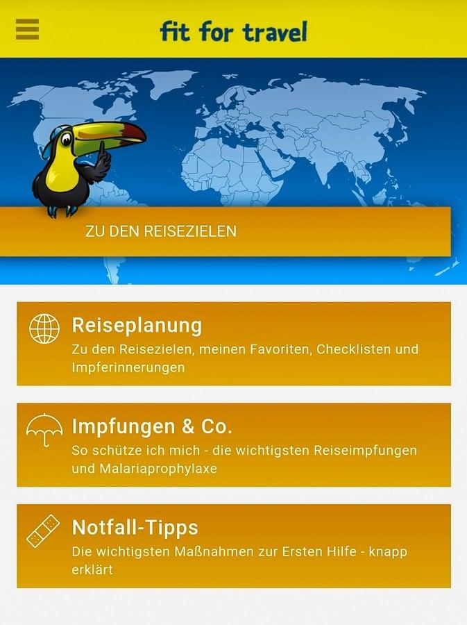 Screenshot der App fit for travel mit den Inhalten Reiseplanung, Impfungen & Co. sowie Notfall-Tipps