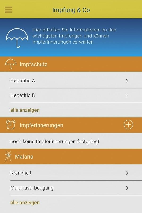 Screenshot aus den Impfinformationen zu Hepatitis in der App fit for travel