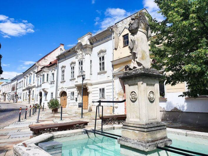 Häuserzeile und Brunnen in Eisenstadt