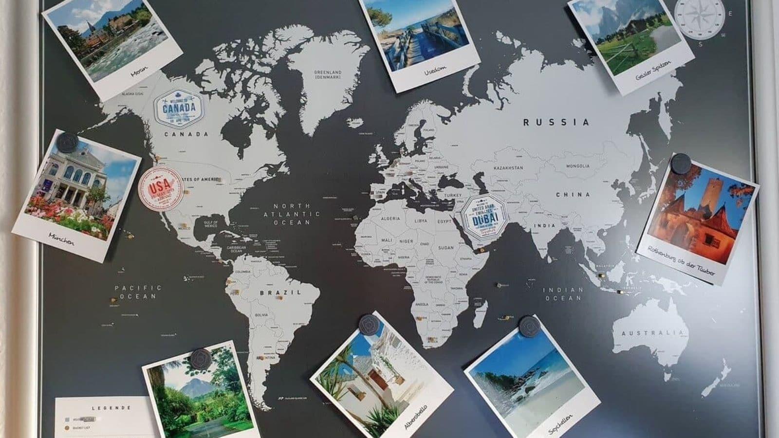 Magnetische Weltkarte mit Fotos und Magneten