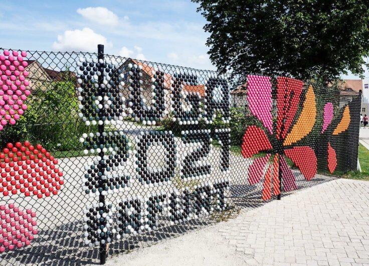Bunter Schriftzug Buga 2021 Erfurt mit Logo