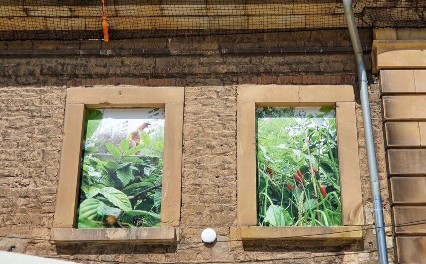 Fotokunst in den Fenstern der Defensionskaserne